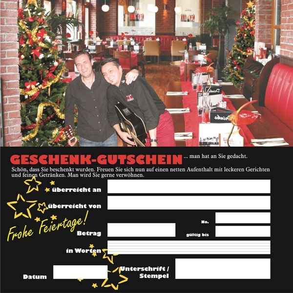 Geschenkgutschein für ein Restaurant