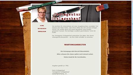 Homepage für eine Textagentur